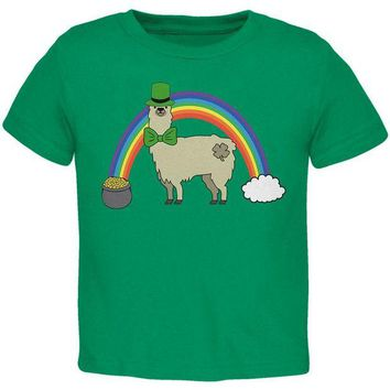 ONETOW St. Patrick's Day Llama Cute Pot Of Gold Toddler T Shirt