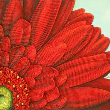 Gerbera Daisy Painting String Art Flower - 3d Original on Canvas - Made to Order