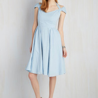 Vintage Inspired Long Sleeveless Fit & Flare Ladylike a Dream Dress in Blue