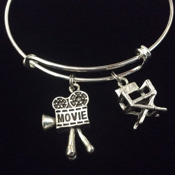 Director Actor Movies 3D Charms on a Silver Plated Expandable Bracelet Adjustable Bangle One Size Fits All