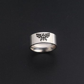 Silver The Legend of Zelda Hylian Crest Ring High Quality Zelda Logo Stainless Steel Rings for Women and Men Game Jewelry