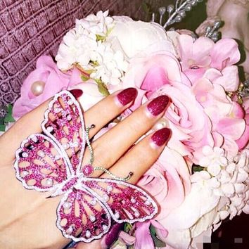 Fashion Pearl Pink Rhinestone Large Butterfly Ring