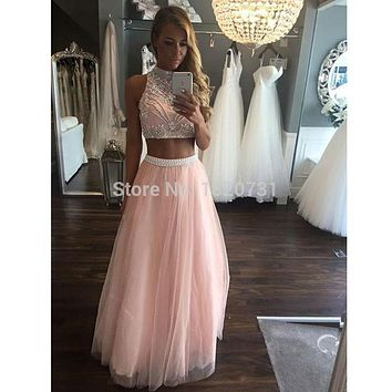 Prom Dresses 2 Piece Long 2017 Vestido De Festa Beaded Girls Sparkly Graduation Party Dress High Neck Formal Evening Gowns
