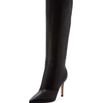 Gianvito Rossi Point-Toe Leather Mid-Calf Boot