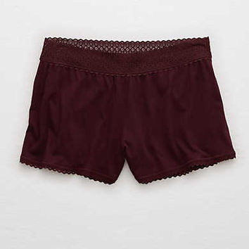 Aerie Softest Sleep® Trimmed Boxer, Deep Plum