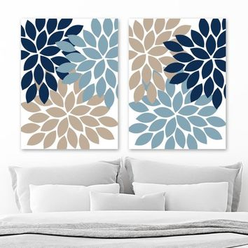 Flower Wall Art, Navy Blue Beige Flower Bedroom Wall Decor, Flower Canvas or Prints, Beige Blue Flower Bathroom Decor Pictures, Set of 2