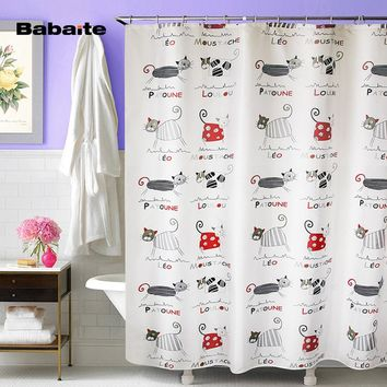 Babaite 3D Luxury Printing Cartoon Cute Cats High Quality Shower Curtain Midlewproof with Hooks