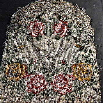 1800s Antique Victorian Art Nouveau Micro Beaded Purse Evening Bag Handbag Cherubs Flutes Repousse Filigree Frame Rose Floral Bag Fashion