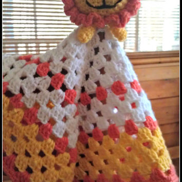 MTO Lincoln Lion Lovey, Baby Lovey, lion lovey, crochet blanket, crochet baby toys, crochet toddler toy, crochet baby blanket, animal lovey
