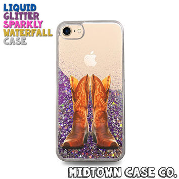 Cowgirl Boots Cowboy Country Farmer Ranch Cute Liquid Glitter Waterfall Quicksand Sparkles Glitter Bomb Bling Case for iPhone 7 7 Plus 6s 6