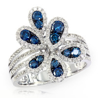 EFFY™ Collection 1 CT. T.W. Enhanced Blue and White Diamond Flower Ring in 14K White Gold