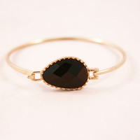 Obsidian Oval Stone Bangle