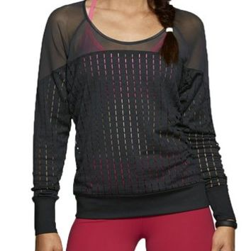 Nike Womens Lattice and Sheer Training Shirt Black