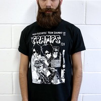 THE CRAMPS PSYCHO ART T-SHIRT VTG PSYCHOBILLY PUNK SKULL AWESOME GOTH