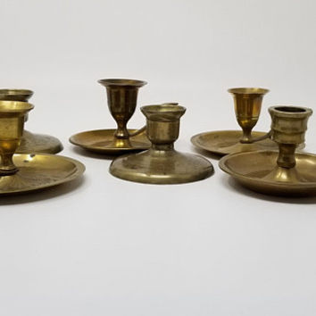 Petite Short Brass Candlestick Holders Set of Six Candle Holders with Handles