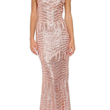 Brillance Sequined Maxi Dress - Rose (PREORDER)