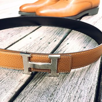 Handmade Reversible leather belt to fit 32mm Hermes buckles (size 75,85,90)