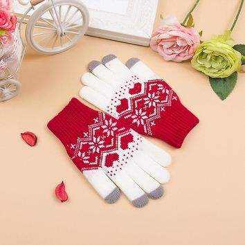 2017 1 pair Hot Sell Knitted Women's Soft Snowflake Stretch Winter Warm Gloves Women's Telephone Touch Screen Gloves Accessories