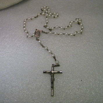 Vintage Rosary - Italy - Faux Pearl and Silver tone Crucifix