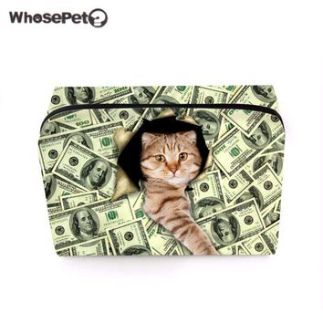 WHOSEPET Cute Cat Printing Cosmetic Bag