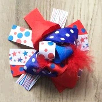 Red White Blue Polka Dot Stars Hair Bow