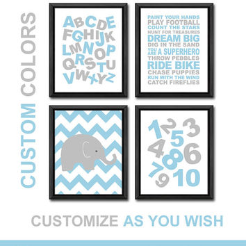 baby boy wall decor alphabet ABC wall art playroom rules quote boy nursery rules chevron elephant nursery boy wall art boys room decor gift