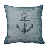 Nautical Anchor Distressed Blue Throw Pillow