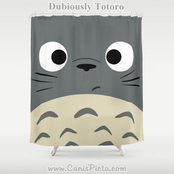 "Totoro Kawaii My Neighbor Shower Curtain 71"" x 74"" Anime Decorative Catbus Grey Blue White Manga Troll Hayao Miyazaki Studio Ghibli"