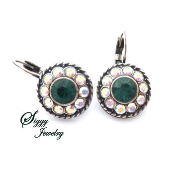 Holiday Bling, Emerald green and crystal AB Swarovski crystal daisy earrings, antique silver flower earrings, multi-stone Siggy Jewelry