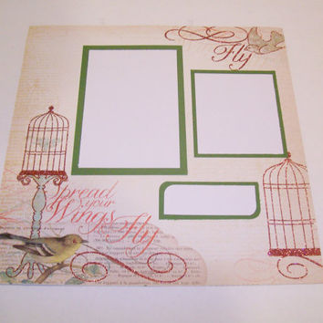 Spread Your Wings Premade Scrapbook Page by StrictlyCute on Etsy