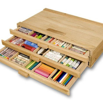 Creative Mark 3 Drawer Sturdy Stackable Wood Storage Box For Pastels Art Tools Paint Brushes
