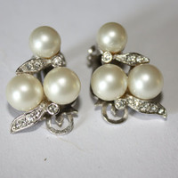 SALE Vintage Pearl Rhinestone 1950 Earrings by patwatty on Etsy
