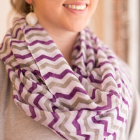 Sheer Chevron Infinity Scarf Violet