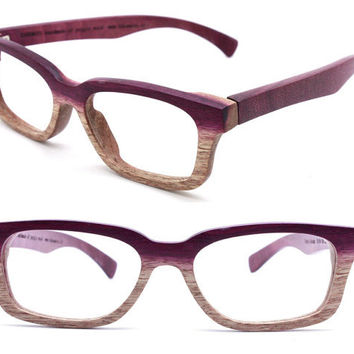 Paris Autumn  handmade  purple wood   eyeglasses with prescription and bamboo case 201210061735 ONLY ONE