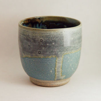 "16 ounce oz Wine Glass Tumbler Cup Handleless, Unique Pint Mug, Slate Blue & Gray, ""Soft Shadow"", Handmade Wheel Thrown ceramic pottery"