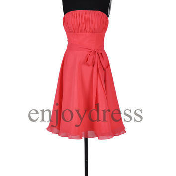 Custom Coral Short Bridesmaid Dresses 2014 Formal Prom Dresses Hot Homecoming Dress Fashion Party Dress Ball Gowns Evening Dresses