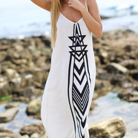 The Girl and The Water - Billabong - Golden Splash Maxi Dress / White - $59.50