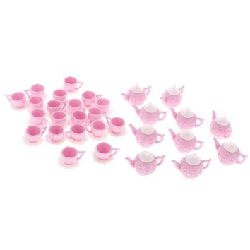New Arrivals 10 Sets 1/12 Dollhouse Miniature Plastic Pink Tea Pot with 2 Cups Tableware Toys Kitchen Accessory Classic Doll Toy