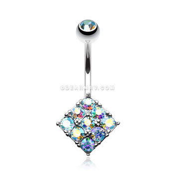 Sparkle Overload Belly Button Ring (Aqua/Aurora Borealis)