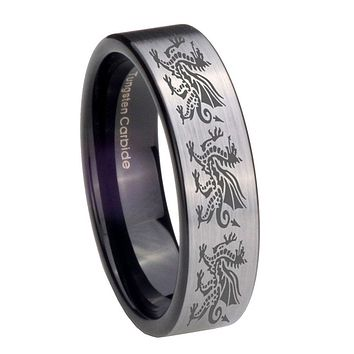 8MM Silver Black Multiple Dragon Pipe Cut Tungsten Carbide Laser Engraved Ring