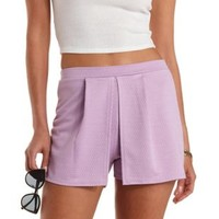 Lavender Pleated Overlay High-Waisted Shorts by Charlotte Russe