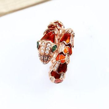 8DESS BVLGARI Snake Women Fashion Diamonds Plated Ring