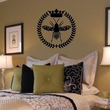 Vinyl Wall Decal-Queen Bee / Wreath / Crown Vinyl Wall Lettering Decal