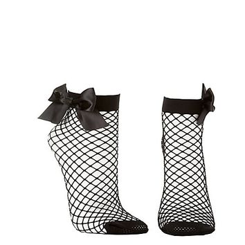 Bow-Tied Fishnet Ankle Socks