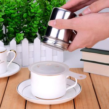 Hot  Stainless Chocolate Shaker Cocoa Flour Icing Sugar Powder Coffee Sifter Lid Shaker Kitchen Accessories  Cooking Tools