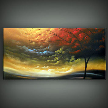 original large art landscape painting huge modern abstract silhouette tree landscape painting huge 48 x 24