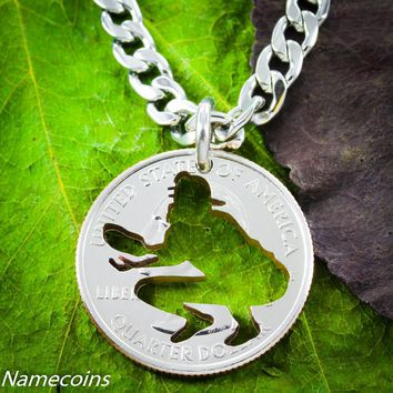 Baseball catcher Jewelry, cut quarter, by Namecoins