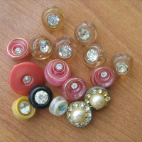 Vintage Lucite rhinestone buttons variety 16 in lot