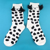 Dalmatian Puppy Dog with Polka Dots and Tassel Detail Cotton Socks in Grey | DOTOLY