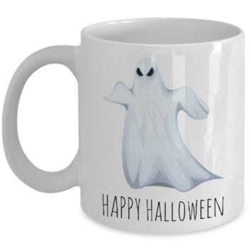 Motivation Happy Halloween Ghost Morning Coffee Mug - Funny Sayings & Quotes Christmas Gift for Boys & Girls - Hot Kid X-Mas Cocoa, Milk, Cookies, Candy Cane & Pencil Cup For Kids